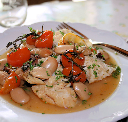 Spanish Cod with Pimenton and Butter Beans by French Tart
