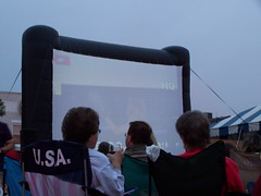 Testing out the projector/movie screen