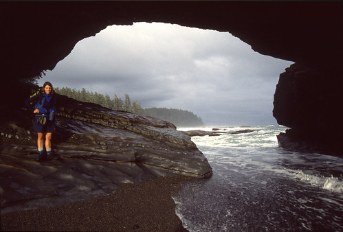 Amy with Sea Arch, West Coast Trail, British Columbia
