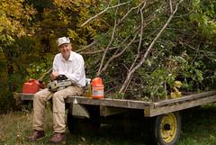 A trailer full of cut buckthorn!