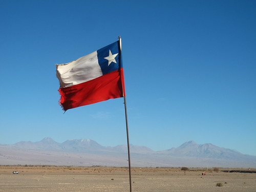 Chilean flag...with the Andes (& Bolivia) in the background