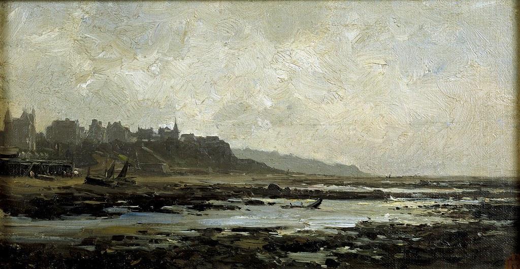 Carlos de Haes (Brussels, 1826-Madrid, 1898) Playa de Villerville, Normandy (c. 1880) Oil on canvas. 22 by 40 cm. Museo Nacional del Prado, Madrid.