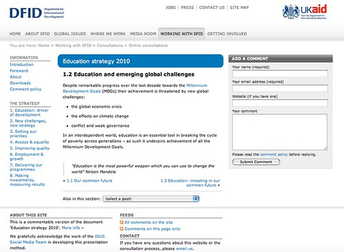DFID consultation platfrom - http://consultation.dfid.gov.uk/