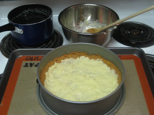 Spread the coconut cream on the bottom of the crust.