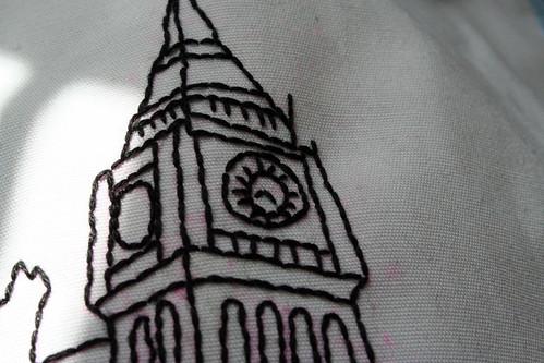 Work In Progress - Backstitched Clock