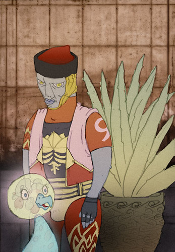 A photograph of a typical Blrnax, with Hal, and an Aloe Plant. Hal belongs to Masaaki Yuasa