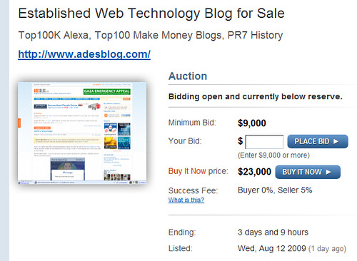 ades blog price on flippa.com