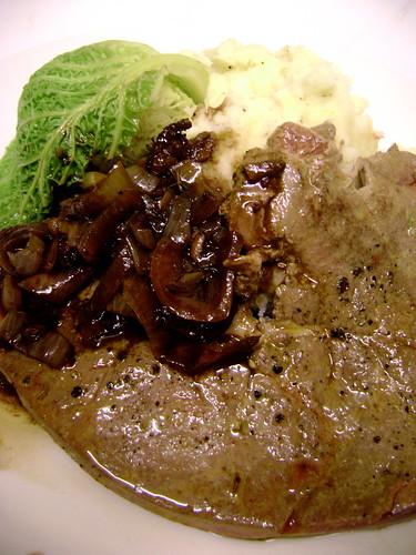 Calves Liver with Chorizo and Balsamic Caramlised Onions