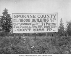Pre-construction sign for Spokane County Building