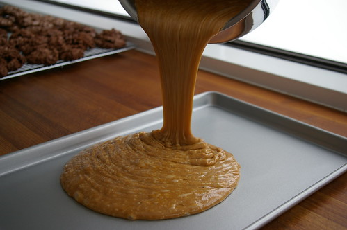 Pouring the toffee