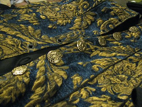 Blue and Gold Chenille Brocade