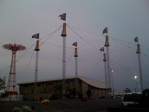 June 4: In readiness for today's tent raising, the support structures for the Ringling Circus tent join the Parachute Jump on the Coney Island skyline. Photo by rbbbconeyisland via flickr