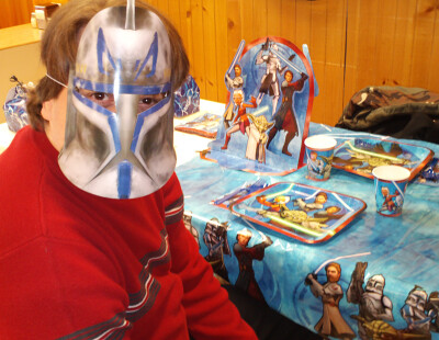 Tom shows off his Clone Trooper mask