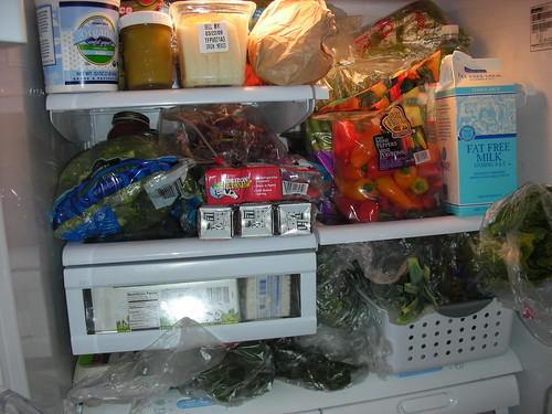 A vegetarian and bunny fridge at the beginning of the week