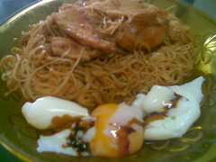 Bovril mee sua with egg and meat slices