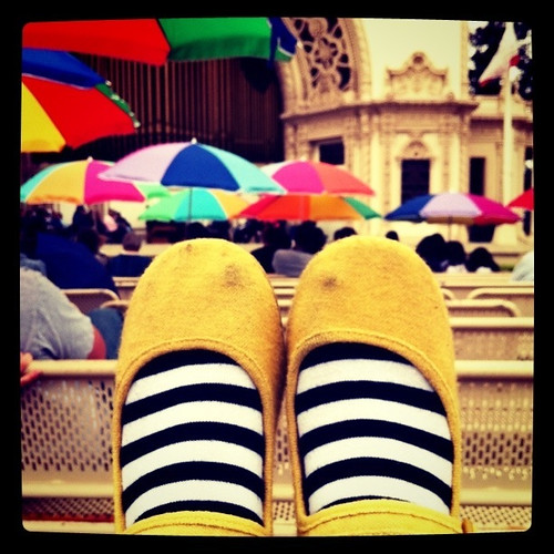 yellow shoes, witchy socks, umbrellas everywhere