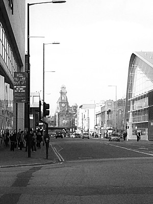 looking up Oxford Road, past the universities and BBC, towards City Centre