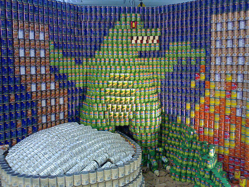 Godzilla made of cans