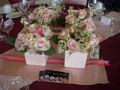 4 square vase centerpieces
