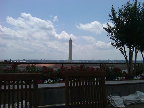 1:15 pm. Taking in the view from the terrace at work