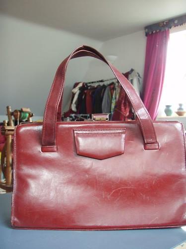 red handbag.