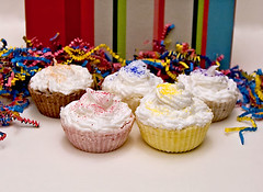 Cupcake Bath Bombs with Buttercream Soap Frosting and Jojoba Sprinkles 3 ounces each