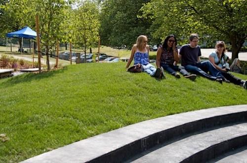Enjoying the sun at Skyway Park