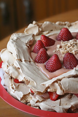 Brown Sugar Pavlova with Strawberry-Rhubarb Fi...