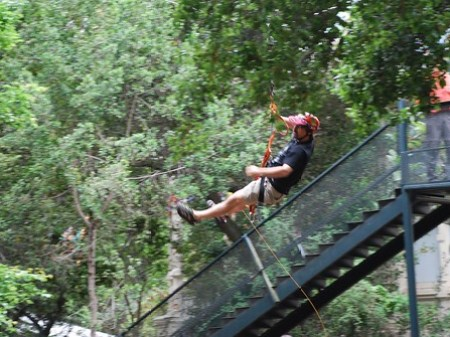 On the Tyrolean zip line