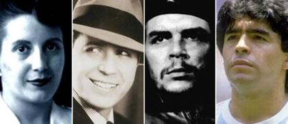 Eva Perón, Carlos Gardel, el Che Guevara y Diego Maradona, cuatro mitos de la cultura popular argentina desarmados por Sebreli.