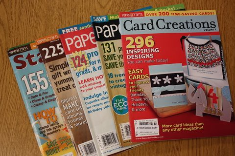 Heres just a few of my favorite magazines right now. We just got out desk copies of Card Creations, Volume 7 this week! It hits newsstands on June 23!