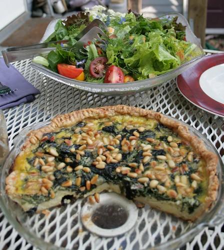 Chard tart and salad