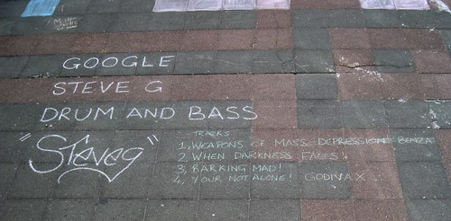 Chalk Based Discussion Forum on Brighton Beach - Advertising