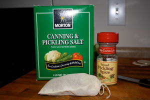 Canning salt, pickling spices, and spice bag