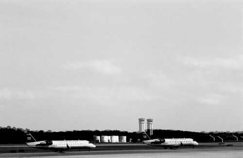 Airport Double Exposure. (Ilford Pan F Plus — Pushed Two Stops. Nikon F100. Epson V500.)