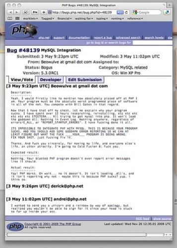 PHP Bugs: #48139: MySQL Integration
