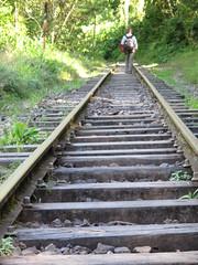 Pour aller à Agua Calientes, on marche 2 heures le long des rails
