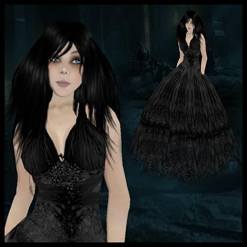 Marinoco Black Flowered Wedding Dress