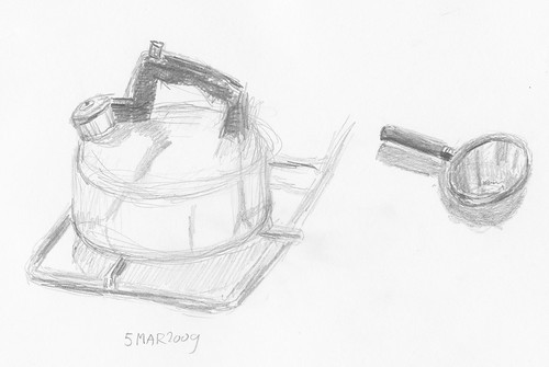 Kettle and magnifying glass