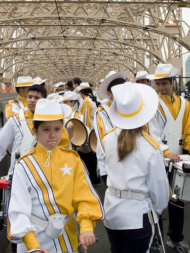 A marching band ready to rock