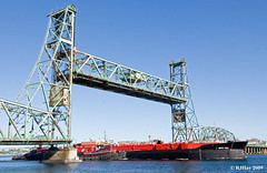 Ship Under Bridge - Heading Out to Atlantic Ocean - Portsmouth NH