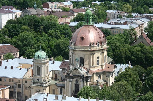 Ratusha City Hall tower building Lviv Ukraine