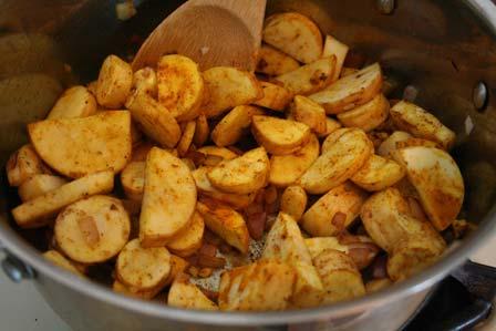 Turmeric coated vegetables