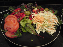 Salad with homemade coleslaw