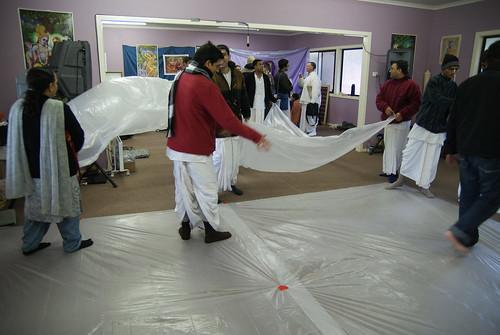 The floor being prepared