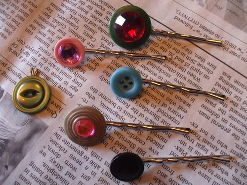 Button hairclips for Powell's