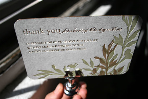 Wedding favor card - Amazon Conservation Association donation - letterpress printed by Smock  by Smock Letterpress.