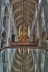 Norwich Cathedral: I might be wrong, but I think this is the Pulpitum of Norwich Cathedral, looking east from the Nave, reflected in the viewing mirror that you can use to inspect the roof bosses in the rather nice lierne vault. This western arm of the cathedral is relatively new, having been completed in 1145, although the vault wasn't added until 1454-1462. The Pulpitum is there to keep peasants and animals out of the important monkly business being conducted in the Presbetary, but these days, an animal peasant like me can happily wander through. The organ on top of the Pulpitum dates from 1899, but was rebuilt in 1938 following a fire. The longest pipes are thirty-two feet long and the smallest have a speaking length of less than an inch. It also has a Cymbelstern on top - a set of six bells with a rotating star - which is groovy. Come to Norwich.