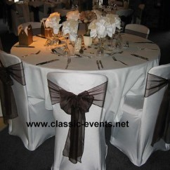 Wedding Reception Chair Covers And Sashes Ted Bundy Electric Nizels Golf Country Club Cover Decoration With Brown Sash