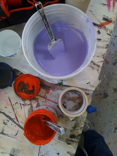 Inks for screenprinting, mixed and ready to go. Photo, courtesy of me.